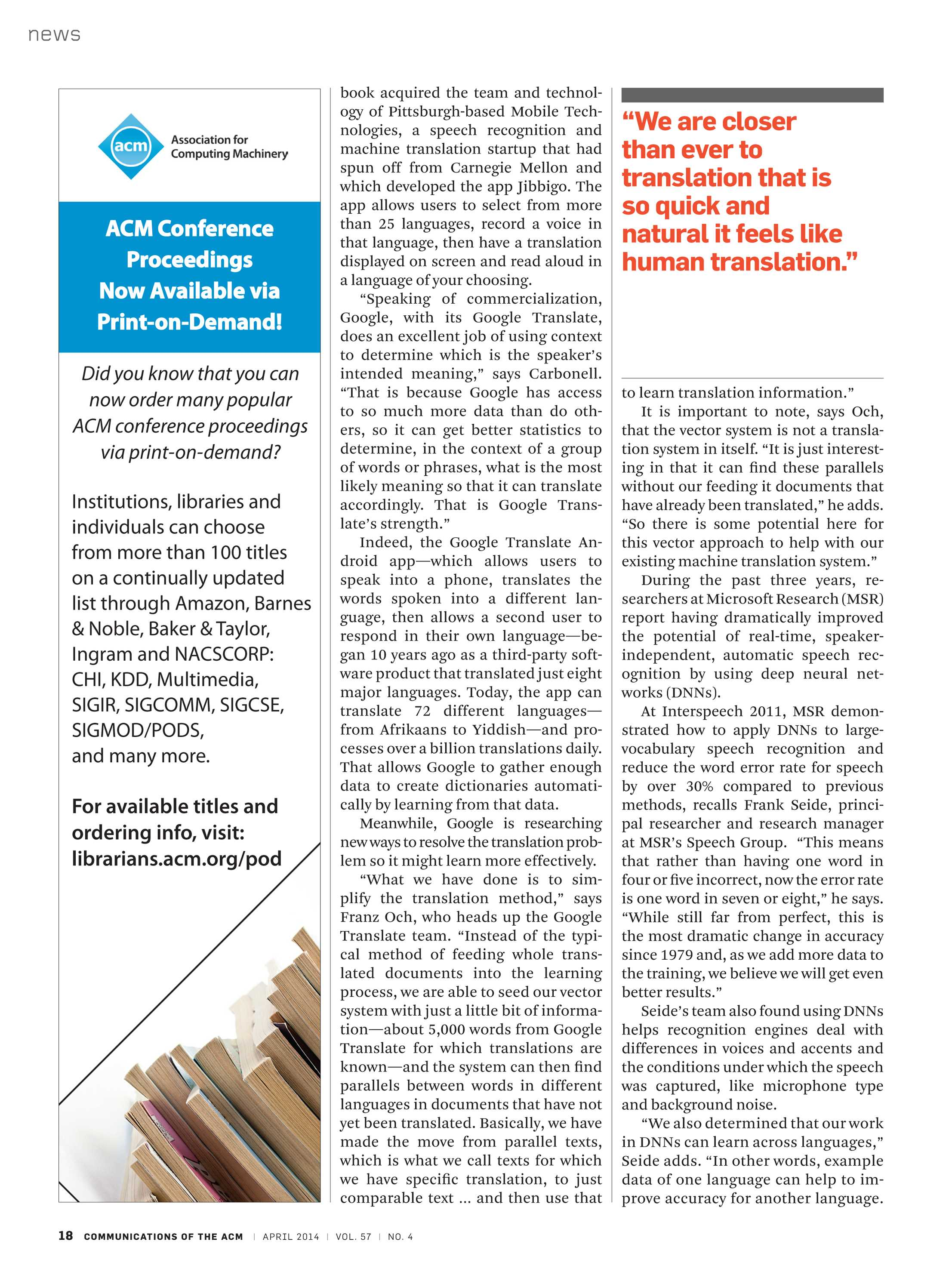 Communications of the ACM - April 2014 - page 18