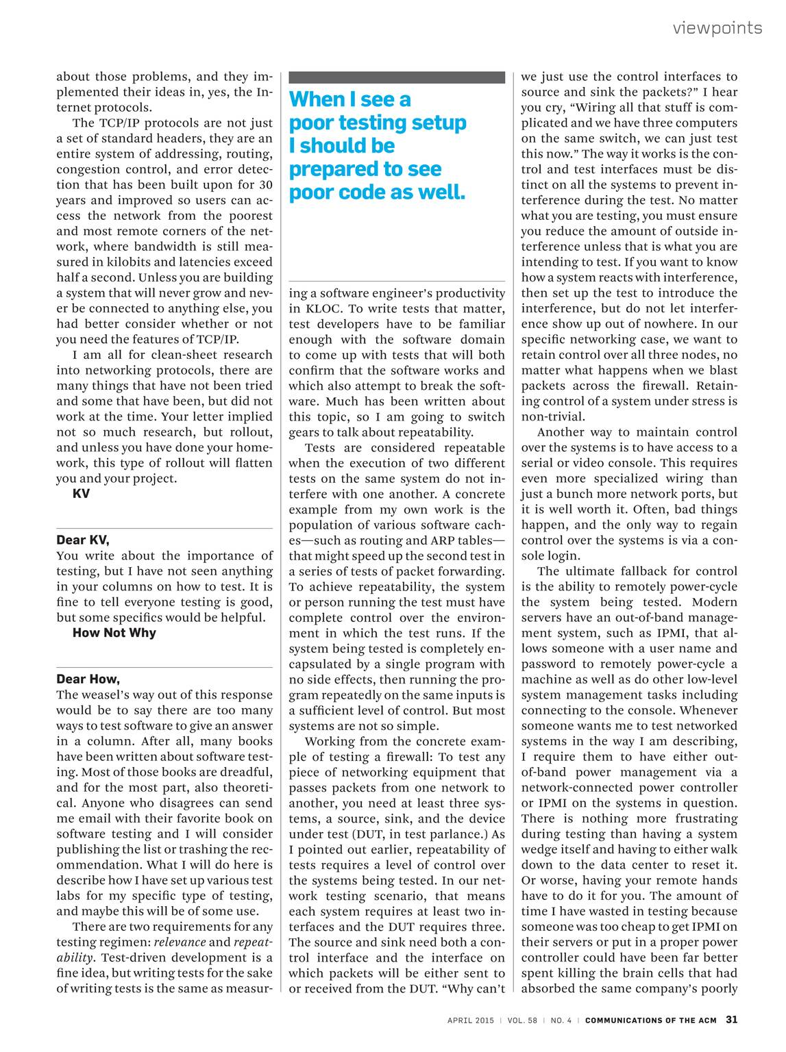 Communications of the ACM - April 2015 - page 30