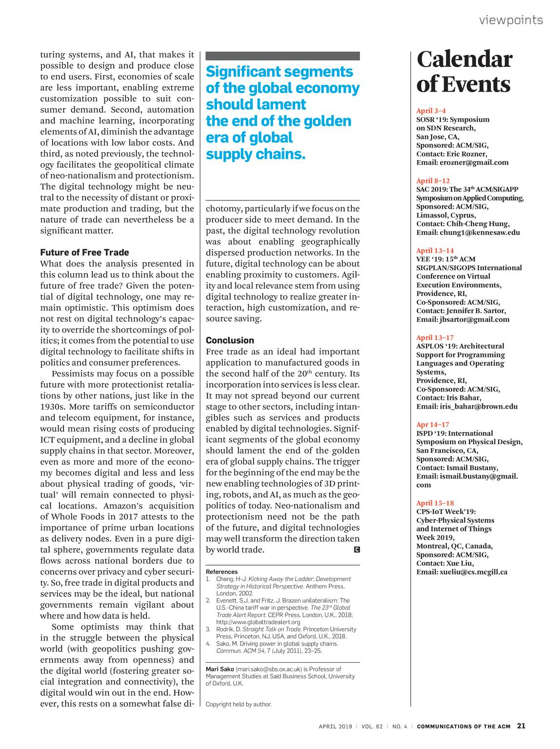 Communications of the ACM - April 2019 - page 20