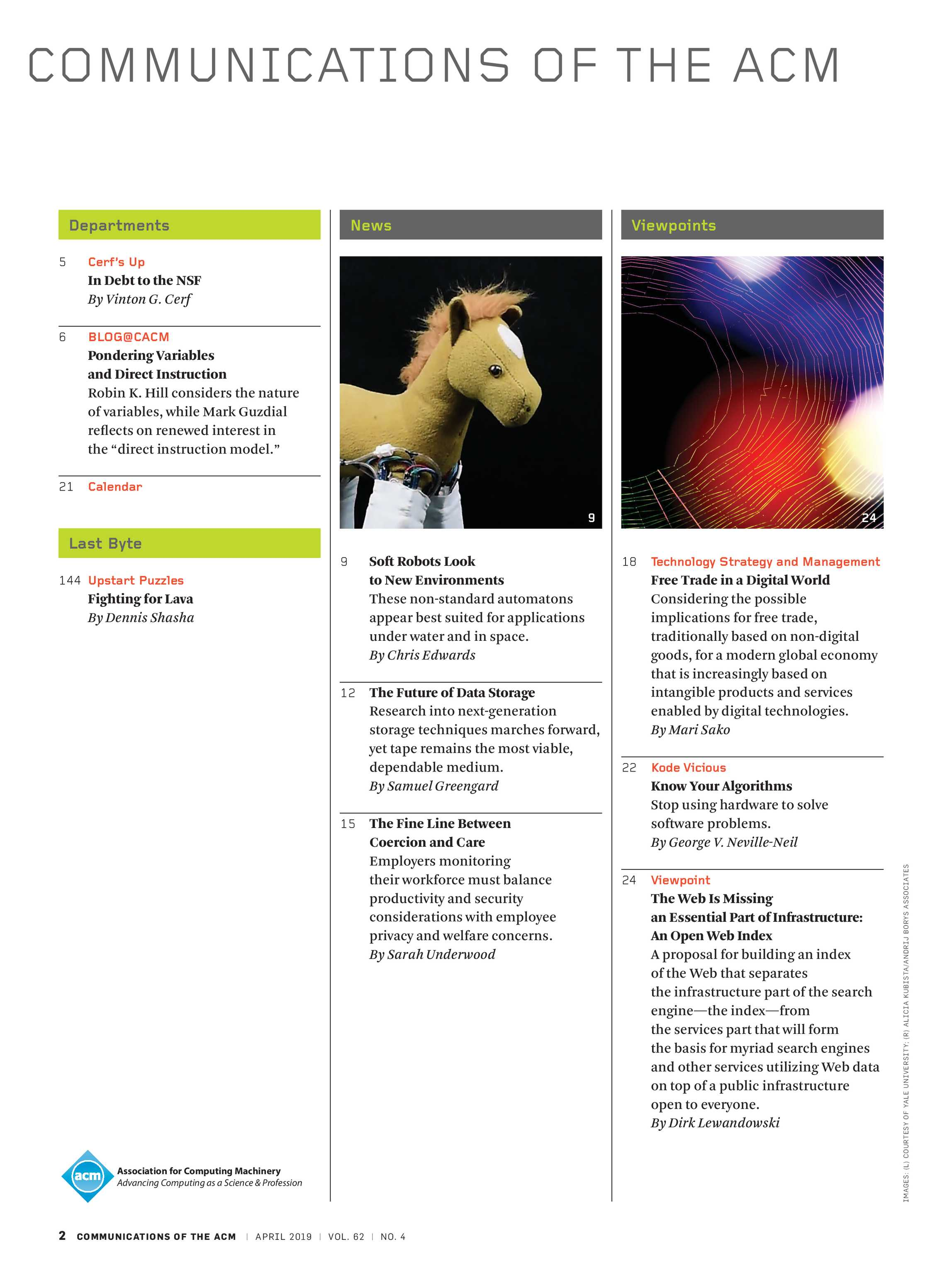 Communications of the ACM - April 2019 - page 2