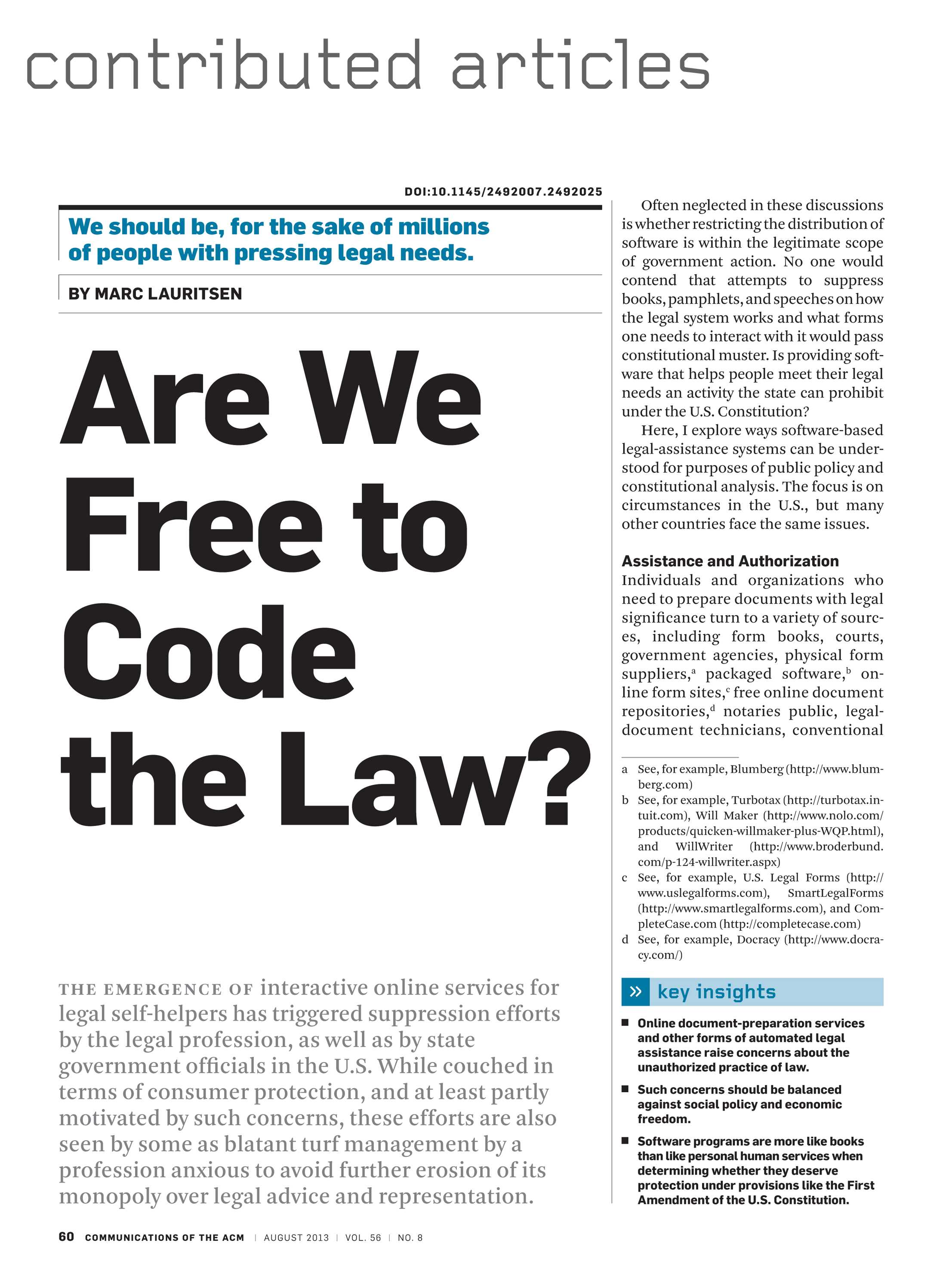 Communications of the ACM - August 2013 - page 60